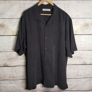 Tommy Bahama 100% silk dark gray button down